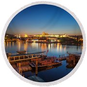 Boat Dock Near St. Vitus Cathedral, Prague, Czech Republic. Round Beach Towel