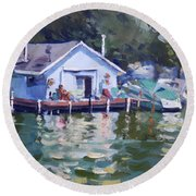 Boat House At Tonawanda Canal Round Beach Towel