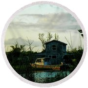 Boat House Round Beach Towel by Cynthia Powell