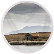 Round Beach Towel featuring the photograph Boat House by Nicholas Blackwell