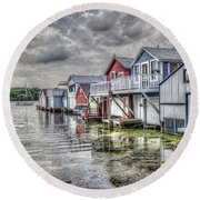 Boat Houses In The Finger Lakes Round Beach Towel