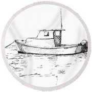 Boat In Casco Bay Round Beach Towel