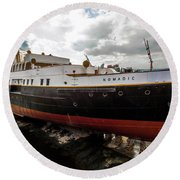 Boat In Drydock Round Beach Towel