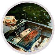 Boat In Fog 2 Round Beach Towel by Marilyn Jacobson