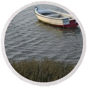 Boat In Ria Formosa - Faro Round Beach Towel