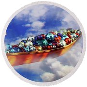 Boat In The Clouds Round Beach Towel