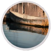 Boat In The Harbor Round Beach Towel