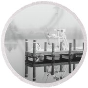 Round Beach Towel featuring the photograph Boat In The Sounds Alabama  by John McGraw