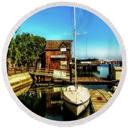 Boat Landing P O C Round Beach Towel by Joseph Hollingsworth