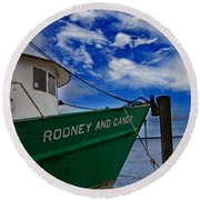 Boat Love In Apalachicola Round Beach Towel by Toni Hopper