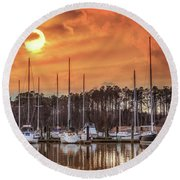 Boat Marina On The Chesapeake Bay At Sunset Round Beach Towel