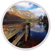 Round Beach Towel featuring the photograph Boat Mooring At Lake Bohijn by Graham Hawcroft pixsellpix