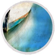 Bow Of An Old Boat Reflecting In Water Round Beach Towel by Jill Battaglia