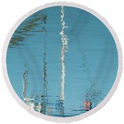 Round Beach Towel featuring the photograph Boat Of Ripples by Wendy Wilton