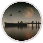 Boat On A Lake With Geese Flying Over Round Beach Towel