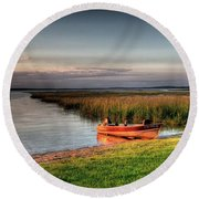Boat On A Minnesota Lake Round Beach Towel