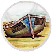 Boat On Beach Round Beach Towel