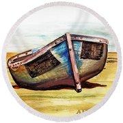 Boat On Beach Round Beach Towel