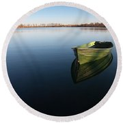 Boat On Lake Round Beach Towel