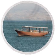 Boat On Sea Of Galilee Round Beach Towel