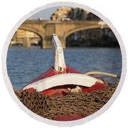 Boat On The Arno River,  Round Beach Towel