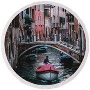 Boat On The River Round Beach Towel
