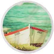 Boat On The Shore Round Beach Towel