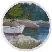 Boat On Tidal River Round Beach Towel
