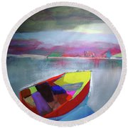Boat On Whiskey Lake Round Beach Towel