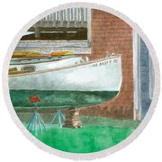 Boat Out Of Water - Portland Maine Round Beach Towel