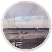 Boat Parking Round Beach Towel by JAMART Photography
