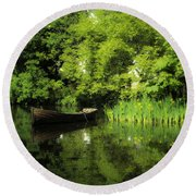 Boat Reflected On Water County Clare Ireland Painting Round Beach Towel