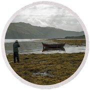 Boat Seaweed And Photographer In Isle Of Skye, Uk Round Beach Towel by Dubi Roman