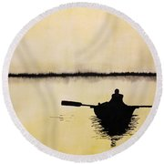 Round Beach Towel featuring the painting Boat Sunlight  by Edwin Alverio