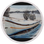 Round Beach Towel featuring the painting Boat Under Snow by Marilyn  McNish