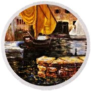 Boat With Golden Sail,san Vigilio  Round Beach Towel