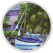 Round Beach Towel featuring the painting Boat With Pink House On River by Martin Davey