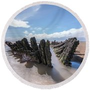 boat wreck SS Nornen - England Round Beach Towel