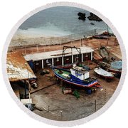 Boat Yard Iquique Harbor Chile Round Beach Towel