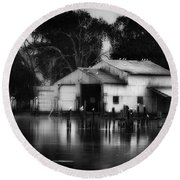 Round Beach Towel featuring the photograph Boathouse Bw by Bill Wakeley