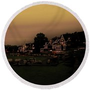 Round Beach Towel featuring the photograph Boathouse Row From The Lagoon Before Dawn by Bill Cannon