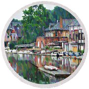 Boathouse Row In Philadelphia Round Beach Towel by Bill Cannon