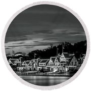 Boathouse Row Philadelphia Pa Night Black And White Round Beach Towel