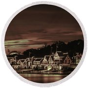 Boathouse Row Philadelphia Pa Night Retro Round Beach Towel