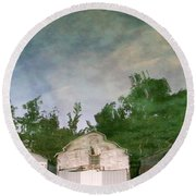 Boathouses With Sky And Trees Round Beach Towel by Michelle Calkins