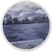 Round Beach Towel featuring the painting Boating Jenny Lake, Grand Tetons by Erin Fickert-Rowland