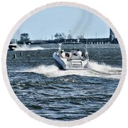 Boating Off Of Jones Beach Round Beach Towel