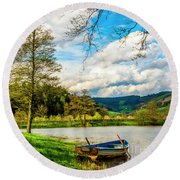 Boating On Golden Pond 254  Round Beach Towel