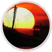 Boatman Enjoying Sunset Round Beach Towel