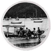 Boats And Boards  Round Beach Towel